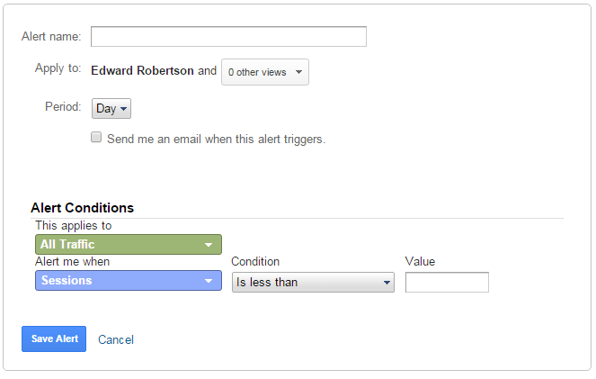 google analytics custom alerts
