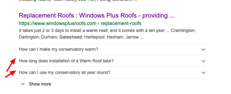 google search results for warm roofs gateshead