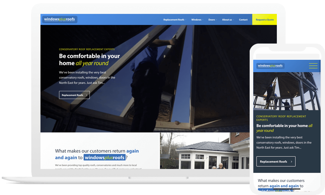 Responsive site for conservatory roof replacement ...